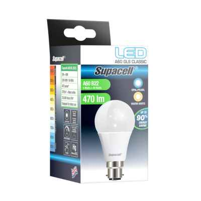 SUPACELL LED DIGITAL GLS B22 PEARL 5W WARM WH