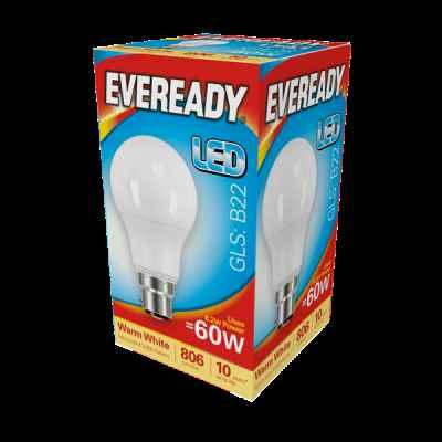 EVEREADY LED GLS 8.2W B22 WARM WHITE