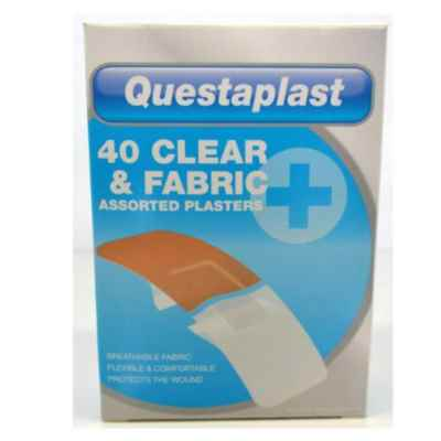 PLASTERS CLEAR & FABRIC  ASSORTED 40S  X 12