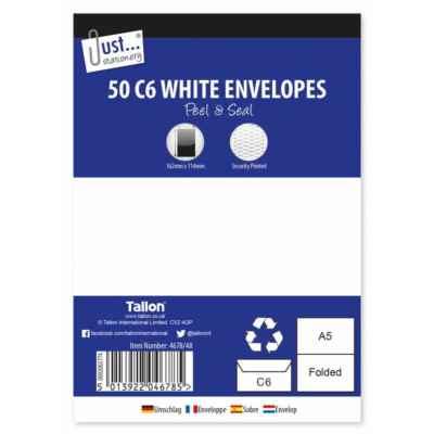 ENVELOPES C6 P&S WHITE 50PK X 12