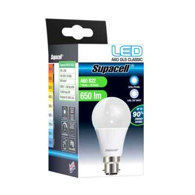 SUPACELL LED GLS B22 PEARL 7W COOL WHITE