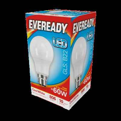 EVEREADY LED GLS 8.2W B22 COOL WHITE