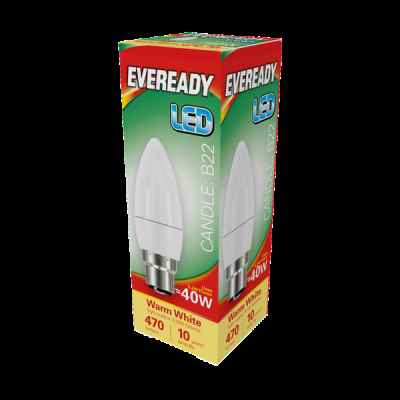 EVEREADY LED CANDLE 5.2W B22 WARM WHITE