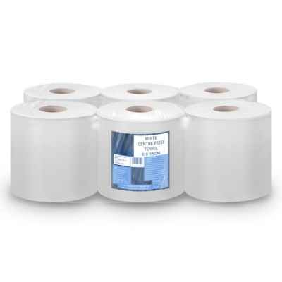 WHITE 195MM CONTRACT ROLL 150M X 6