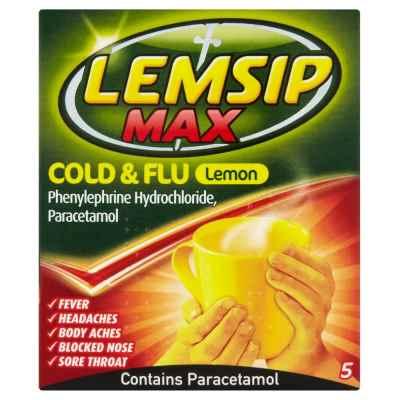 LEMSIP MAX COLD & FLU LEMON 5S X 6
