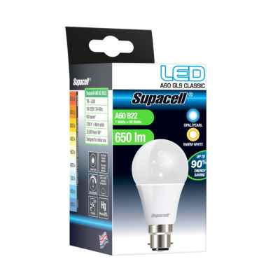 SUPACELL LED GLS B22 PEARL 7W WARM WHITE