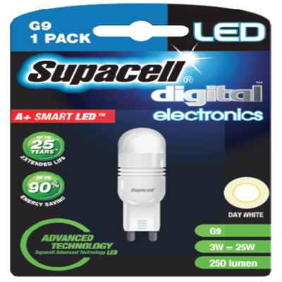 SUPACELL LED DIGITAL G9 2PIN 3W DAY WHITE