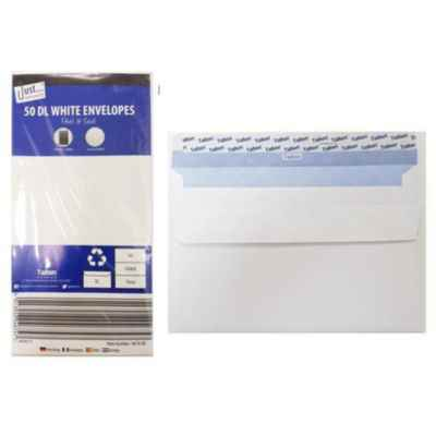 ENVELOPES DL P&S WHITE 50S X 12