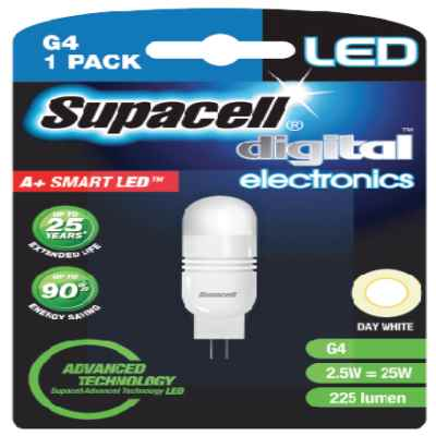 SUPACELL LED DIGITAL G4 2PIN 2.5W DAY WHITE
