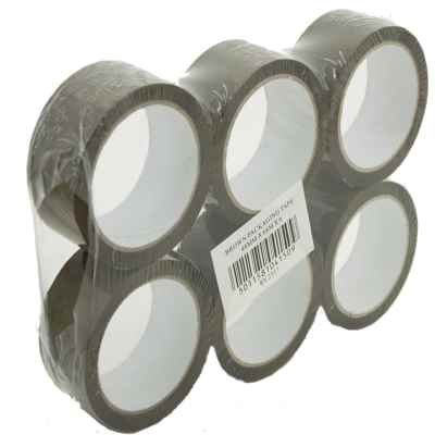 BROWN (BUFF) TAPE 2 INCH 6 PACK