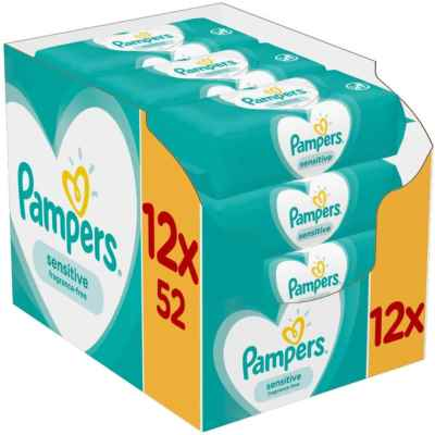 PAMPERS SENSITIVE BABY WIPES 52S X 12