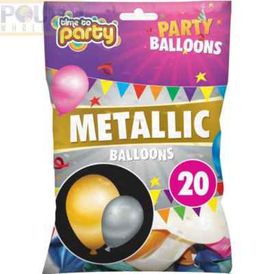BALLOONS METALLIC COLOURS 20PK