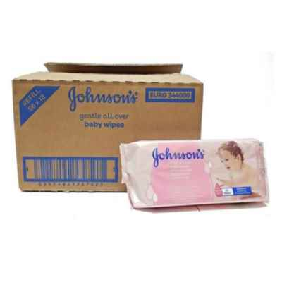 JOHNSONS BABY WIPES 56S X 12