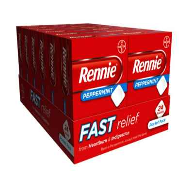 RENNIE PEPPERMINT 24 TABLETS X 12
