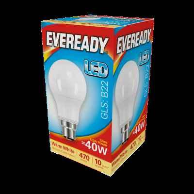 EVEREADY LED GLS 5.5W B22 WARM WHITE