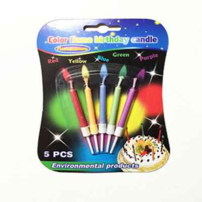 BIRTHDAY COLOUR FLAME CANDLES 5 PCS