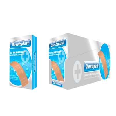 PLASTERS WASHPROOF  50 ASSORTED X 12