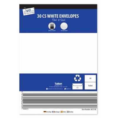 ENVELOPES C5 P&S WHITE 30PK X 10
