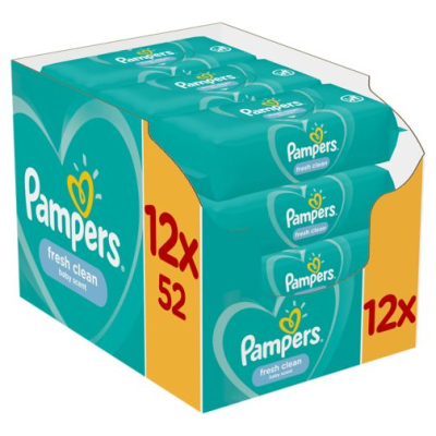 PAMPERS FRESH CLEAN BABY WIPES 52S X 12