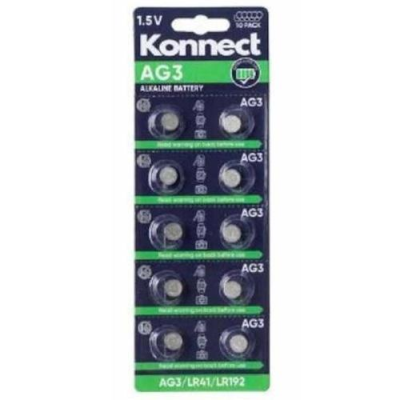 AG3 /  L736 ALKALINE BUTTON CELL CARD OF 10