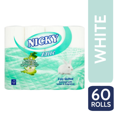 NICKY ELITE T/T 3PLY 12 ROLL X 5 WHITE