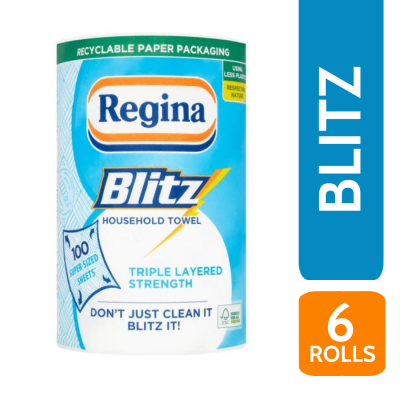 REGINA BLITZ JUMBO KITCHEN ROLL SINGLE X 6