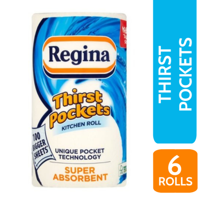 REGINA THIRST POCKETS 2PLY K/T 1 ROLL X 6