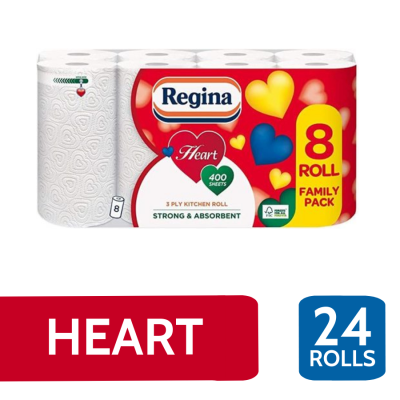 REGINA HEART WHITE 3PLY K/T 8 ROLL X 3