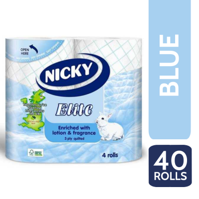 NICKY ELITE T/T 3PLY 4 ROLL X 10 BLUE