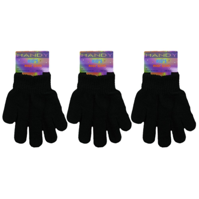 KIDS HANDY MAGIC GLOVES BLACK PACK OF 12