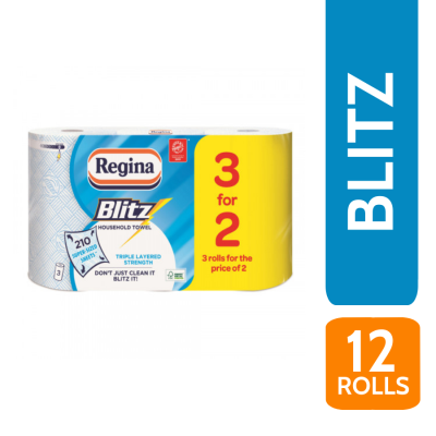 REGINA BLITZ 3PLY 3 FOR 2 ROLLS K/T X 4