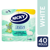 NICKY ELITE T/T 3PLY 4 ROLL X 10 WHITE